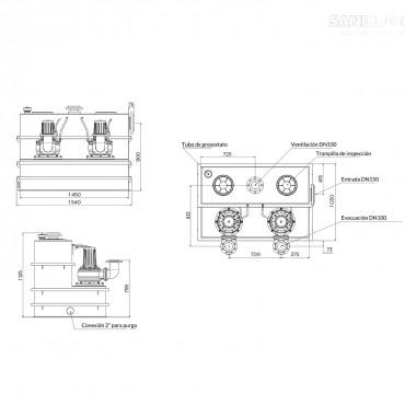 estación de bombeo SANICUBIC 2 SC - medidas