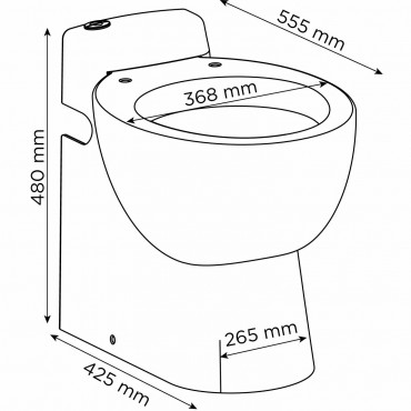 Cerámica con triturador - SANICOMPACT Pro - medidas