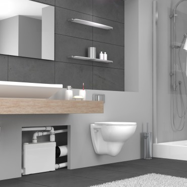 Triturador empotrable SANIPACK - cuarto de baño completo