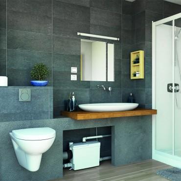Triturador empotrable SANIPACK Pro UP - cuarto de baño completo