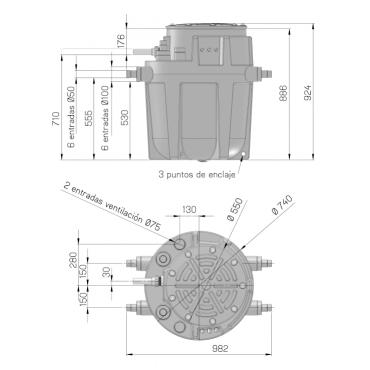 SANIFOS 250 - estación de bombeo - medidas